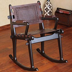 Dark Colonial Country Rich Brown Hand Tooled Leather and Mohena Wood Rocking Chair (Peru)