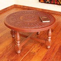 Mohena Wood and Leather 'Andean Heritage' Coffee Table (Peru)