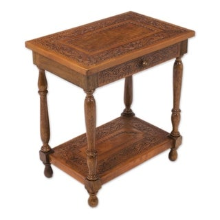 Handmade Mohena Wood and Leather Accent Table (Peru)