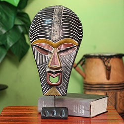Handcrafted Sese Wood 'Abstract Kifwebe' African Mask , Handmade in Ghana
