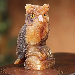 Calcite and Rose Quartz 'Mystic Brown Owl' Sculpture (Peru)
