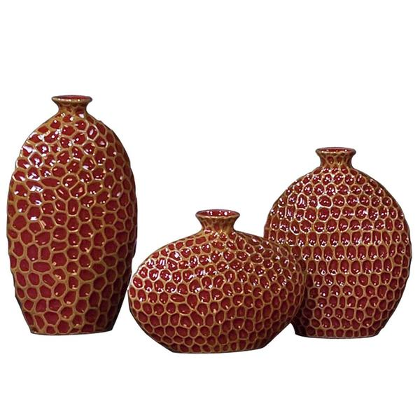 Bright Red/ Mocha Ceramic Vases (Set of 3)