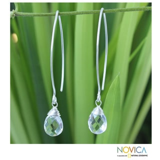 Sterling Silver 'Majestic Ice' Quartz Earrings (Thailand)