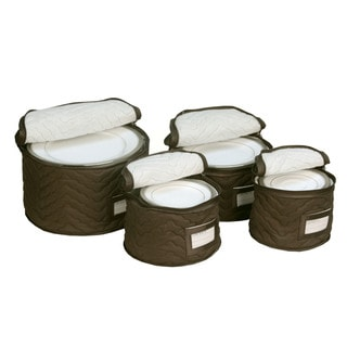 Brown Quilted China Plate 4-piece Storage Case Set