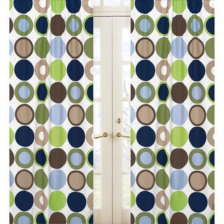 Brown and Green Designer Dot 84-inch Curtain Panel Pair
