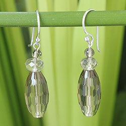 Sterling Silver 'Evening Mystique' Smoky Quartz Earrings (Thailand)