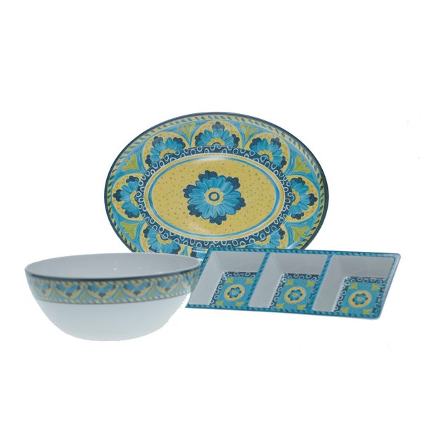 Certified International Mexican Tile 3-piece Serving Set