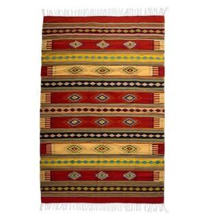 Handmade Traditional Sunshine Constellation Wool Rug (Mexico) - 6.5' x 9.75'