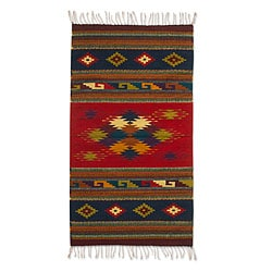 Handcrafted Wool 'Scarlet Sky' Zapotec Rug (2'5 x 5') (Mexico)
