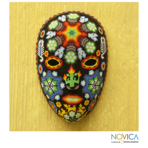 Handcrafted Beadwork 'Scorpions and Deer' Huichol Mask (Mexico)