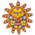 Handcrafted Beadwork &#39;Red Sunset&#39; Huichol Mask (Mexico)