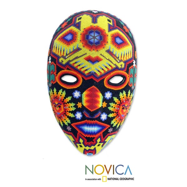 Handcrafted Beadwork 'Huichol Vision' Wall Cross (Mexico)