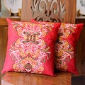 Set of 2 Handcrafted Polyester 'Celebration' Cushion Covers (India)