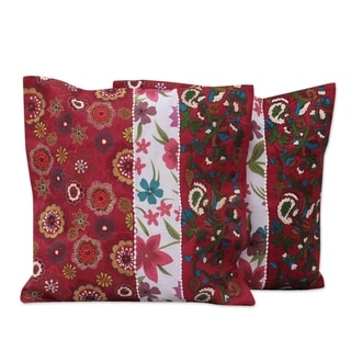 Set of 2 Handcrafted Polyester 'Garden of Love' Cushion Covers (India)