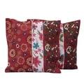 Set of 2 Handcrafted Polyester &#39;Garden of Love&#39; Cushion Covers (India)
