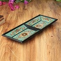Painted Glass Handcrafted 'Colonial Aqua' Tray (Peru)