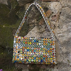 Recycled Metalized Wrapper 'Confetti' Shoulder Bag (Guatemala)