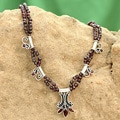 Sterling Silver 'Kerala Carnation' Garnet Necklace (India)