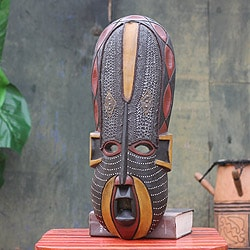 Akan Beauty Womans Face Tribal Artwork Multicolor Painted Sese Wood with Embossed Aluminum Carved African Wall Art Mask (Ghana)