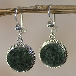 Handcrafted Sterling Silver Jade 'Square Circle' Earrings (Guatemala)