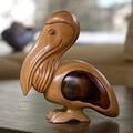 Handcrafted Mahogany 'Perky Pelican' Puzzle Box (Guatemala)