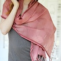 Handcrafted Cotton and Silk 'Rose Illusion' Shawl (India)