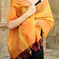 Handcrafted Cotton and Silk 'Madhya Pradesh Sunset' Shawl (India)