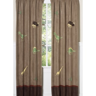 Dinosaur Microsuede 84-inch Curtain Panel Pair
