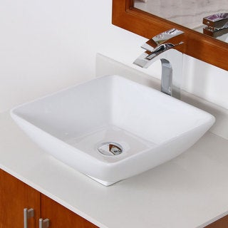 Elite White Ceramic Contemporary Square Bathroom Sink
