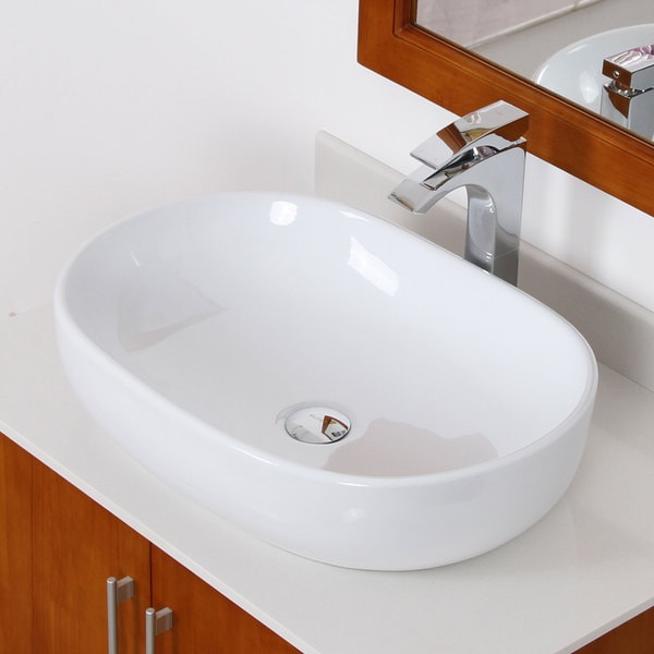 Elite White Ceramic Oval Vessel-style Bathroom Sink