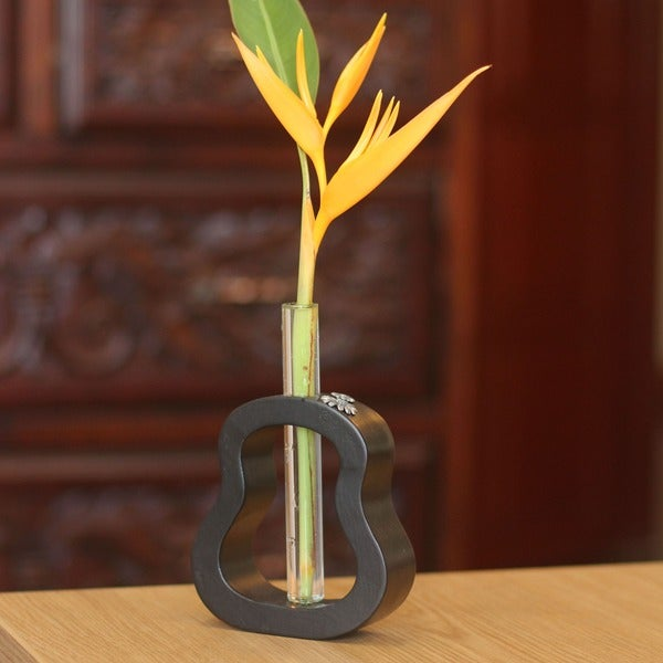 Mango Wood and Pewter 'Daisy Trends' Vase (Thailand)