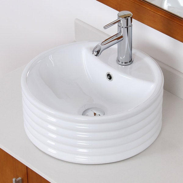 Elite White Ceramic Bathroom Round Vessel Sink