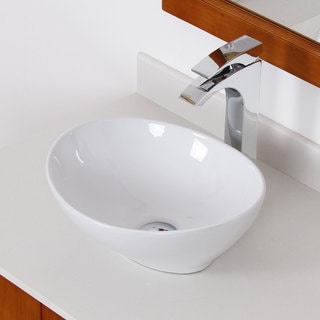 Elite White Ceramic Oval Bathroom Sink with Tall Faucet