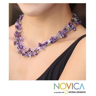 Handcrafted Multi-gemstone 'Lilac Mousse' Necklace (Thailand)