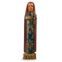 Handcrafted Pinewood 'Lady of Perpetual Help' Sculpture (Guatemala)
