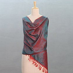 Varanasi Silk 'Emerald Kiss' Shawl (India)