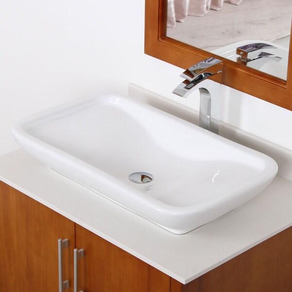 Elite White Ceramic Square Bathroom Sink with Pop-Up Drain