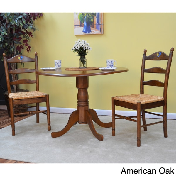 oak kitchen table and 2 slat back chairs 3 piece dining set