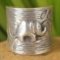 Sterling Silver 'Thai Forest Elephant' Ring (Thailand)