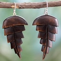 Handcrafted Ebony Wood 'Nature's Bliss' Earrings (India)