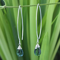 Sterling Silver 'Majestic Ice' Blue Topaz Earrings (Thailand)
