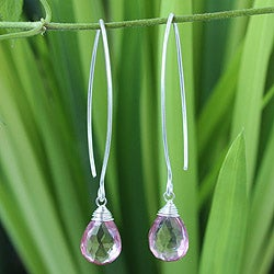 Sterling Silver 'Majestic Rose Ice' Quartz Earrings (Thailand)