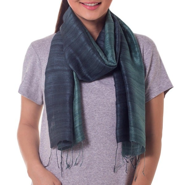 Handcrafted Silk 'Bold Teal' Scarf (Thailand)