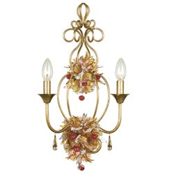Fiore 2-light Antique Gold Lead Wall Sconce with Blown Glass Accents