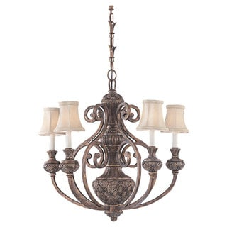 Sea Gull Lighting Highlands Five-Light Regal Bronze Fabric Chandelier
