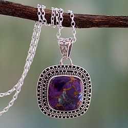 Sterling Silver 'Violet Sunset' Turquoise Necklace (India)