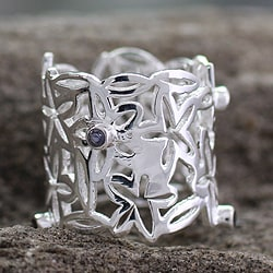 Handmade Sterling Silver Bouquet of Stars Quartz 2 Carats Gemstone Ring (India)