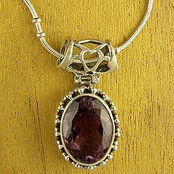 Sterling Silver 'Elegant Mystique' Amethyst Necklace (India)