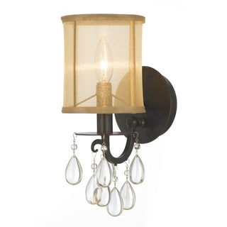Hampton 1-light English Bronze Oyster Crystal Wall Sconce