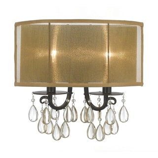 Hampton 2-light English Bronze Oyster Crystal Wall Sconce